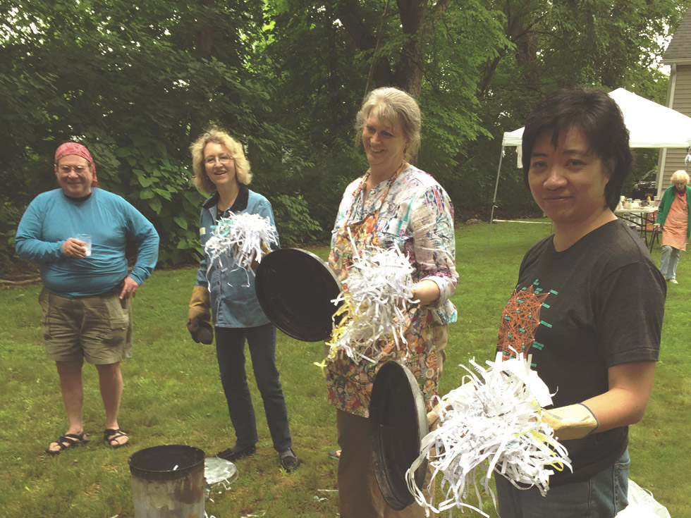 Hudson River Potters raku firing with guest artist Bob Green