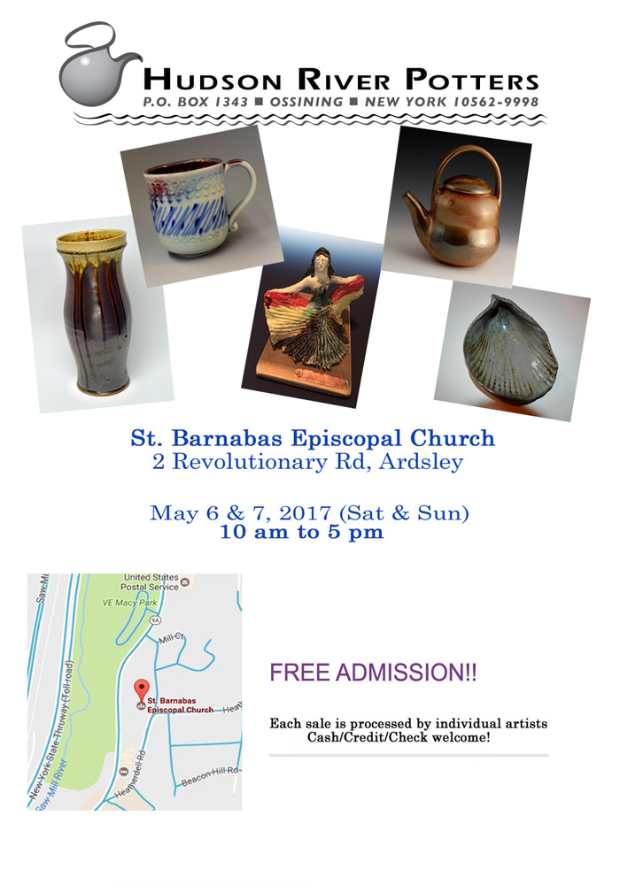 Hudson River Potters at St. Barnabas Episcopal Church, 2 Revolutionary Road, Ardsley, NY